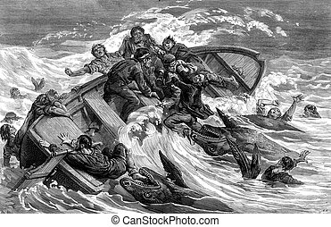A crew devours by sharks, vintage engraving - A crew devours...