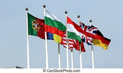 National flags of various European countries with Bulgarian...