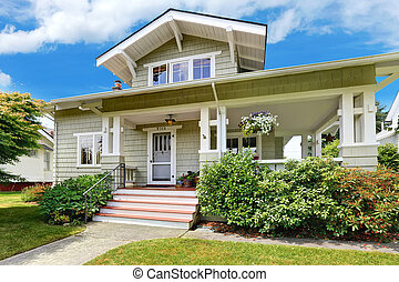 Spacious entrance porch with stairs - House exterior....