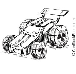 Race car - Hand drawing sketch vector illustration isolated...