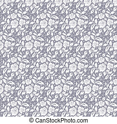 Floral lace pattern - Seamless white floral lace on a gray...