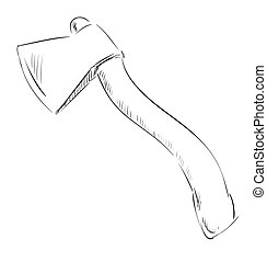 Ax hatchet icon - Hand drawing sketch. Eps 10 vector...