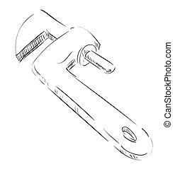 Adjustable spanner icon - Hand drawing sketch. Eps 10 vector...