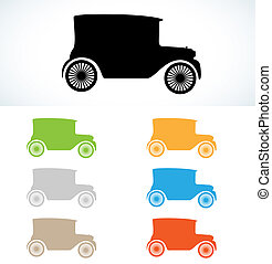 old car silhouettes in seven colors, vector, isolated