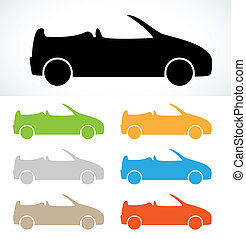 cabriolet silhouettes in seven colors, vector, isolated