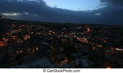 Aerial, night view of Cappadocia - Night view of the village...