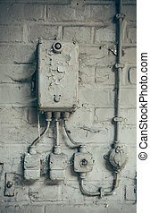 old electrical box - An old electrical box with wires to a...