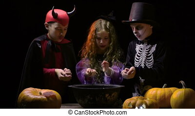 How Magic Potion is Made - Three little wizards conjuring in...