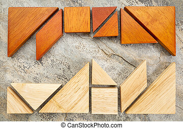two sets of tangream puzzle - two sets of tangram puzzle on...