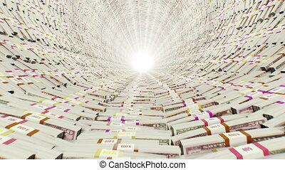 Tunnel Stacks of money - First 300 frames are loop-able HD...