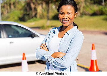 african student driver in testing ground - portrait of...