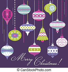 Vintage Christmas Tree Balls - card or background - in vector