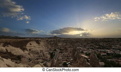 Aerial, night view of Cappadocia - Timelapse view of the...