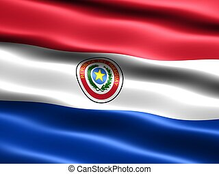 Flag of Paraguay, computer generated illustration with silky...
