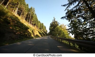 POV on country road in Germany - Driving on a mountain road...