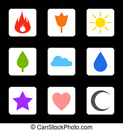 Random abstract icons set - Flame flower sun tree cloud...
