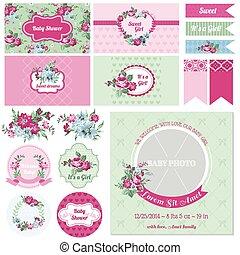 flor,  -, ducha, tema,  vector, diseño, bebé, álbum de recortes, elementos