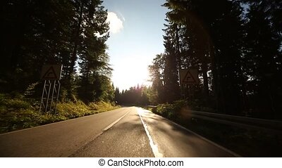 POV Camera on a country road in Germany in the black forest...