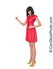Woman in red mini dress - Young sexy woman in red mini dress...