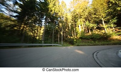 POV Onboard-Camera on a country road - HD Video footage of...