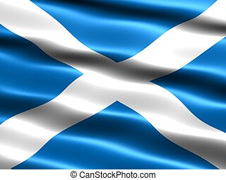 Flag of Scotland, computer generated illustration with silky...