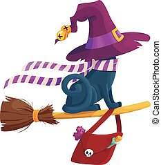 Black terrible witch Halloween cat eps vector