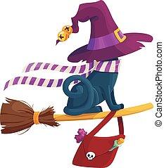 Black  terrible witch Halloween cat eps vector