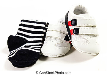 tennis shoes - baby tennis shoes on the white background