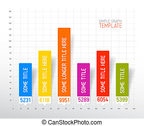 Infographic flat design column graph chart template - Vector...