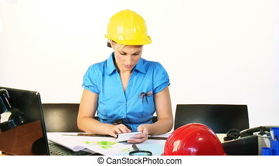 Female architect working in office footage - Beautiful young...