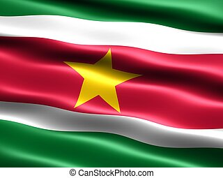 Flag of Suriname, computer generated illustration with silky...
