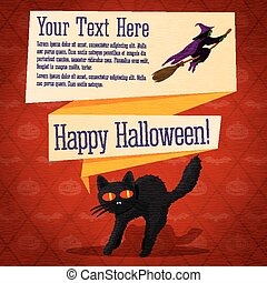 Happy halloween cute retro banner - craft paper texture with black startled cat and witch on the broomstick, greeting, place for your text.