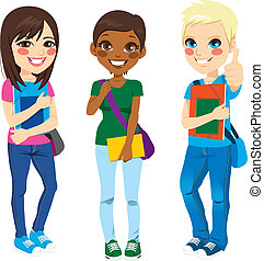 Multi Ethnic Students - Multi ethnic group of three young...