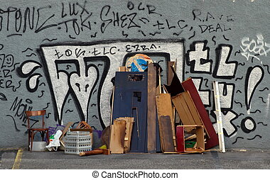 Old furnitures in the street, Geneva, Switzerland - Old...