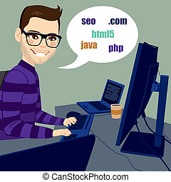 Programmer Man Working - Young programmer man working with...