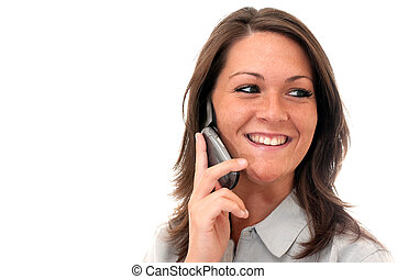 Girl Talking on Cell Phone Isolated