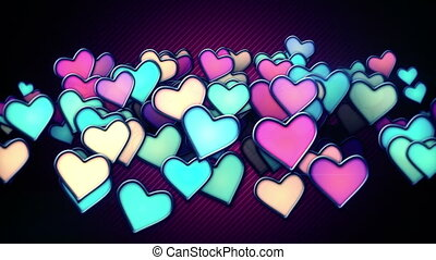 glowing colorful hearts loop backgr