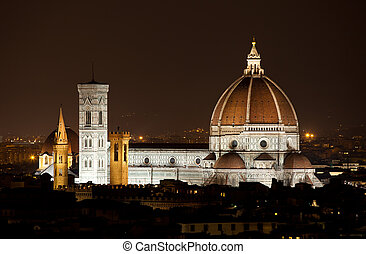 Santa Maria del Fiore, the Florence Duomo by night, Italy.