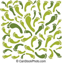 Green footprint frame for your design, vector illustration