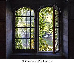 University Windows - Light spills through a half-open window...