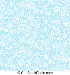 Winter pattern with various falling snowflakes - Hand drawn...