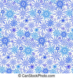 Winter pattern with various falling snowflakes