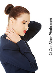 Business woman with back pain - Business woman with back...