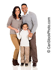 young family standing together - portrait of happy young...
