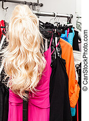 Twig - different costumes and wigs in the dressing room of a...