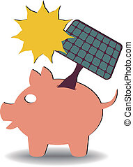 savings solar energy - illustration of a solar panel going...