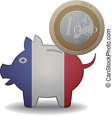 france euro - illustration of a euro coin going into a piggy...