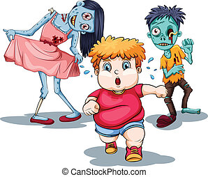 Zombies - Illustration of a boy running away from zombies