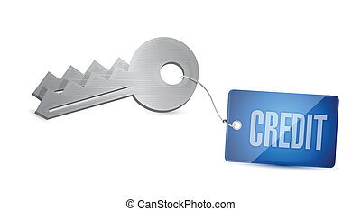 credit key illustration design over a white background