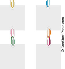 four sheets of colored paper clips